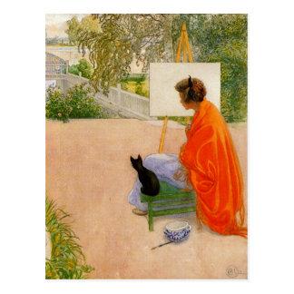 Mujer y gato que miran el puente postal