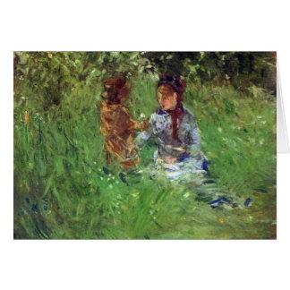 Mujer y niño en jardín en Bougival por Morisot Tarjeton
