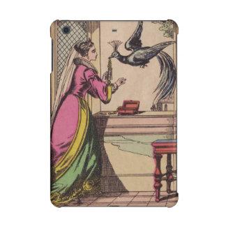 Mujer y pavo real del guión del vintage