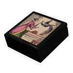 Mujer y pavo real del guión del vintage cajas de recuerdo