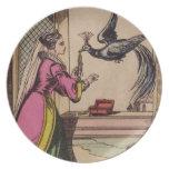 Mujer y pavo real del guión del vintage platos para fiestas