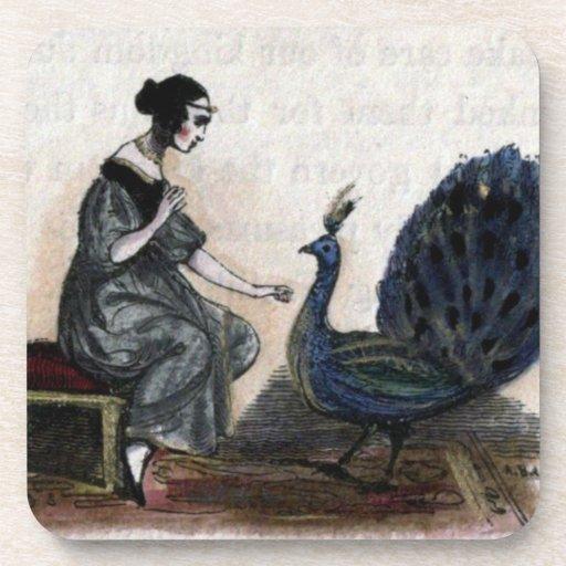 Mujer y pavo real del vintage posavasos