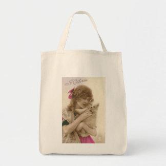 Mujer y perro antiguos del Victorian de la foto