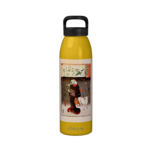 Mujer y perro de Kuniyoshi del vintage en bella ar Botellas De Agua Reutilizables