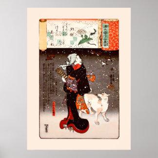 Mujer y perro de Kuniyoshi del vintage en bella ar Impresiones