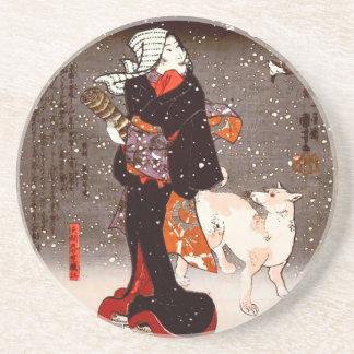 Mujer y perro de Kuniyoshi del vintage en bella ar Posavasos Manualidades