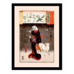 Mujer y perro de Kuniyoshi del vintage en bella Tarjetas Postales