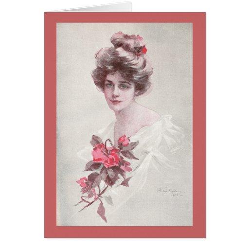 Mujer y rosas rojos tarjeton