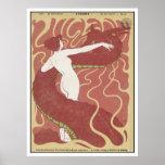 Mujer y serpiente - arte Nouveau - arte de Jugend Posters