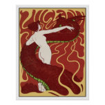 Mujer y serpiente - arte Nouveau - arte de Jugend Poster