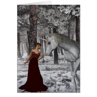 Mujer y unicornio en tarjeta de felicitación de la
