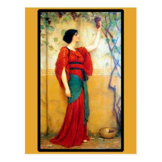 Mujer y uvas del art déco tarjetas postales