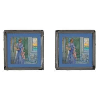 Mujer y Washtub del lavadero Gemelos Plomizos
