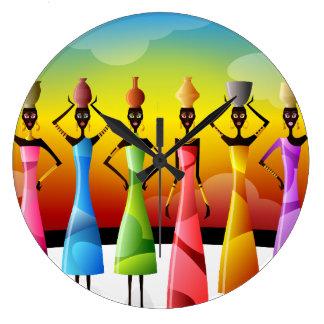 Mujeres africanas con cerámica en sus cabezas reloj redondo grande