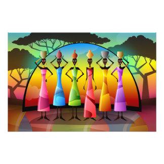 Mujeres africanas con los buques cojinete