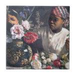 Mujeres africanas con los Peonies Tejas Ceramicas