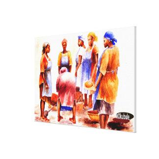 Mujeres africanas por Mojisola un Gbadamosi Impresión En Lona Estirada