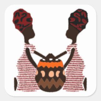 Mujeres africanas y una cesta Kwanzaa moderno Pegatina Cuadrada