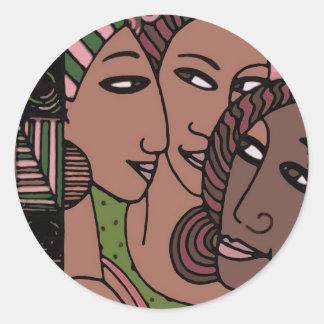 Mujeres afroamericanas rosadas y verdes pegatina redonda