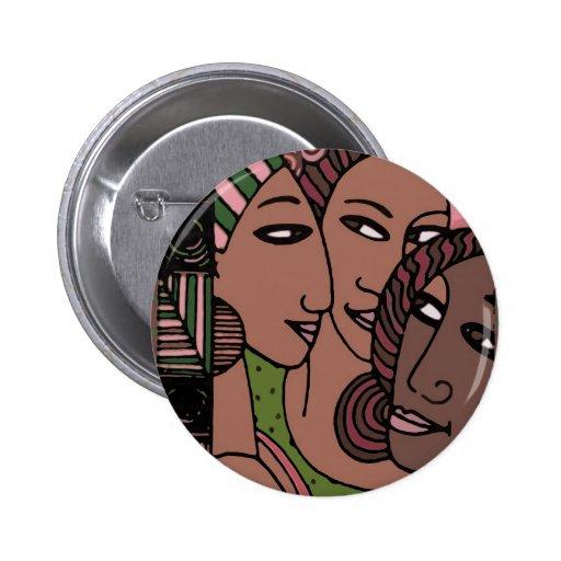 Mujeres afroamericanas rosadas y verdes pin redondo 5 cm