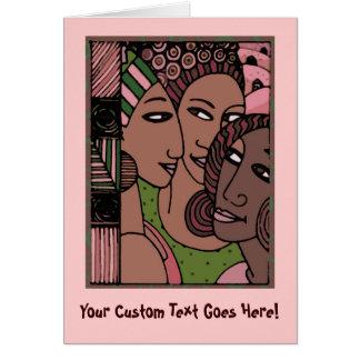 Mujeres afroamericanas rosadas y verdes tarjeta de felicitación