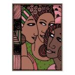 Mujeres afroamericanas rosadas y verdes tarjeta postal