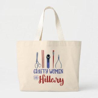 Mujeres astutas para el tote de Hillary Bolsa Tela Grande