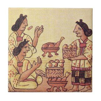 Mujeres aztecas en un banquete azulejo cuadrado pequeño