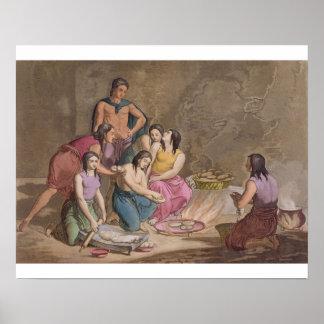Mujeres aztecas que hacen el pan del maíz, México, Poster