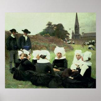 Mujeres bretonas que se sientan en un perdón póster