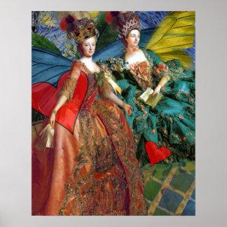 Mujeres caprichosas góticas de la mariposa del póster