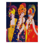 Mujeres coloridas de Deco del vintage con joyería Poster