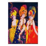 Mujeres coloridas de Deco del vintage con joyería Felicitacion