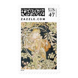 Mujeres con el arte Nouveau de las margaritas Timbre Postal