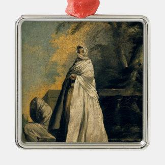 Mujeres cubiertas en blanco adorno cuadrado plateado