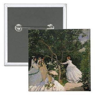 Mujeres de Claude Monet el | en el jardín, 1866 Pin Cuadrado
