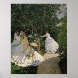 Mujeres de Claude Monet el | en el jardín, 1866 Póster