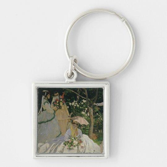 Mujeres de Claude Monet el | en el jardín Llavero Cuadrado Plateado
