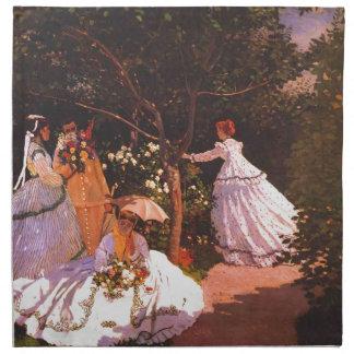 Mujeres de Claude Monet en el jardín Servilletas Imprimidas