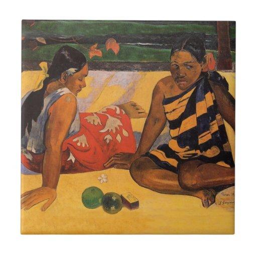 Mujeres de Gauguin Polinesia francesa Tahití Azulejo Cuadrado Pequeño