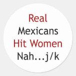 Mujeres de golpe reales de los mexicanos Nah JK Etiquetas Redondas