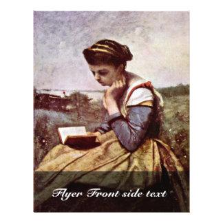 """Mujeres de la lectura de Corot Jean-Baptiste-Camil Folleto 8.5"""" X 11"""""""