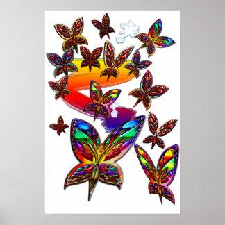 Mujeres de la mariposa que vuelan la impresión dos posters