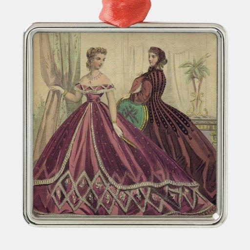 Mujeres de los 1860s del vintage adorno cuadrado plateado