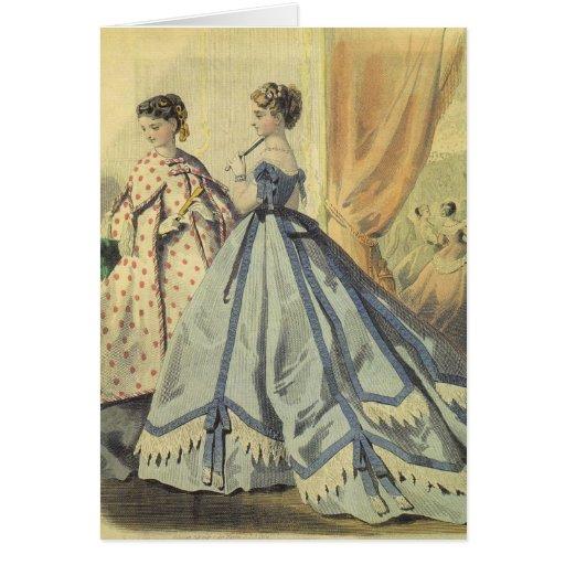 Mujeres de los 1860s del vintage felicitacion