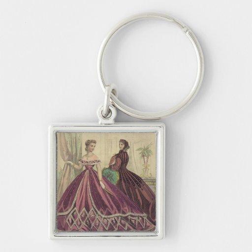 Mujeres de los 1860s del vintage llavero cuadrado plateado