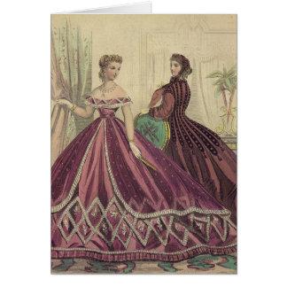 Mujeres de los 1860s del vintage tarjeta de felicitación