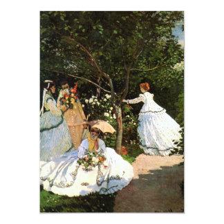 """Mujeres de Monet en las invitaciones del jardín Invitación 5"""" X 7"""""""
