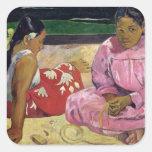Mujeres de Tahití, en la playa, 1891 Pegatina Cuadrada
