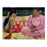Mujeres de Tahití, en la playa, 1891 Postal
